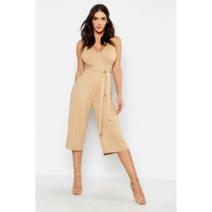 Boohoo Camel Ribbed Lounge Cropped Jumpsuit Size 8